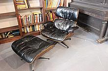 Eames Wood And Leather Lounge and Ottoman