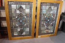 Set of Two Stained Glass Windows