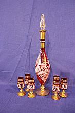 Venetian Neo-Classical Red Glass Decanter Set