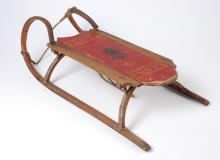 South Paris Maine Child's Sled with Indian Stencil