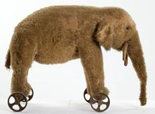 Antique Elephant Pull Toy on Wheels