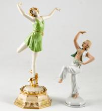 (2) Ceramic Dancing Figurines Made in Germany