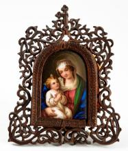(19th c) Madonna and Child Miniature on Porcelain