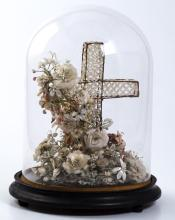 Victorian Shell-Work Floral Bouquet Under Glass
