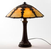 (Early 20thc) Table Lamp w/ Maple Leaf Glass Shade