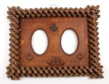 Elaborate Double Masonic Mahogany Picture Frame