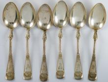 (6) Sterling Silver Floral Embossed Teaspoons