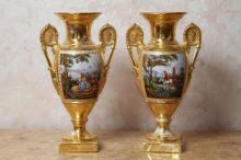 Pair of Paris Porcelain Gilt Urns
