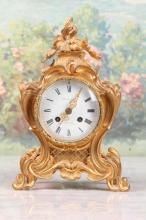 19th C French Rococo style Gilt Bronze Clock