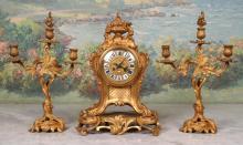 Fine 19th c Alfred Daubree Bronze Clock Garniture