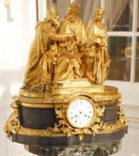 French Bronze D'ore and Slate Mantle Clock