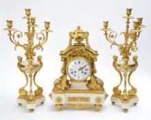 Louis XVI Style Three Piece Marble Clock Garniture