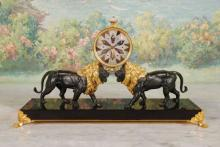 Rare 20th c French Patinated Bronze Lion Clock