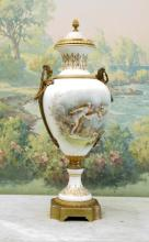 19th c Sevres Style Vase and Cover