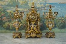 Late 19th c French Three Piece Clock Garniture