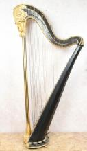 19th c English Regency Gilt and Ebonized Harp