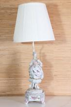 19th c German Porcelain Maiden form Lamp