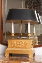 19th c Empire Clock Base Bouillotte Lamp