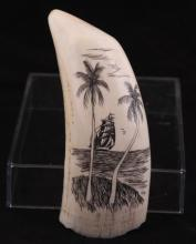 20thc Contemporary Scrimshaw Whale Tooth