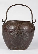 (19th c.) Chinese Tooled Pail with Swing Handle