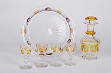 (19th c.) Bohemian Glass (6) Piece Decanter Set