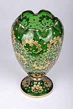 Bohemian Glass Vase with Gold Enamel Decorations