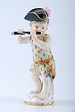 (19th c.) Meissen Figure of Boy Playing Fife