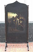 (Early 19th c.) Wrought Iron and Brass Fire Screen