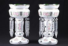 Pair of Milk Cut Glass Overlay Mantle Lustres