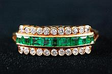 Cartier 18K Gold Diamond and Emerald Ring