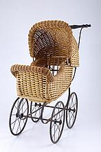 (19th c.) Victorian Wicker Doll Carriage