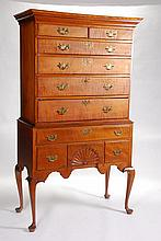 (18th c.) Queen Anne Tiger Maple High Chest