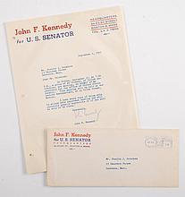 1952 John F. Kennedy for US Senator Signed Letter