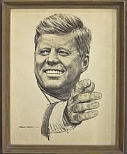 John F. Kennedy Robert Riger Print Portrait, Sign