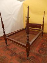 (19th c) FEDERAL PERIOD ROPE BED IN RED WASH