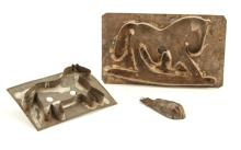 (2) LARGE TIN COOKIE CUTTERS & A TIN RABBIT MOLD