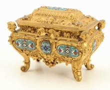 FRENCH GILT BRASS AND CHAMPLEVE JEWELRY CASKET