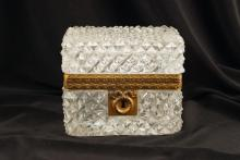 FACETED GLASS JEWELRY CASKET WITH ORMOLU MOUNTS