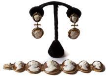 Antique Cameo Bracelet w/ Earrings