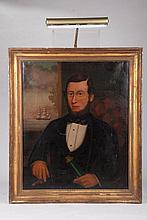 19thc  American Folk Art Portrait of a Sea Captain