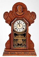 1899 Ingraham Admiral Dewey Oak Shelf Clock