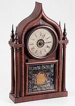 (19th c.) Rosewood Gothic Steeple Shelf Clock