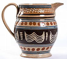 Mochaware Pitcher with Wavy Slip Trail Motif