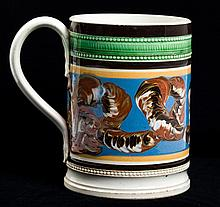 Mochaware Earthworm Decorated Slip Banded Mug