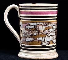 Mochaware Slip-Banded Mug with Feathering