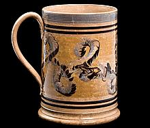 Large Mochaware Mug with Earthworm Motif