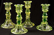 (19th c.) Canary Glass Candlesticks