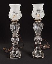 Pair of Blown Molded Fluid Lamps
