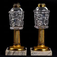 Pair of Blown Molded Fluid Lamps on Brass Columns