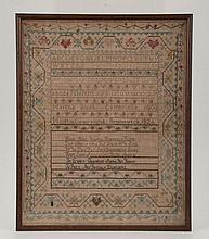 1803 Sampler By Martha Bush of Cambridge MA